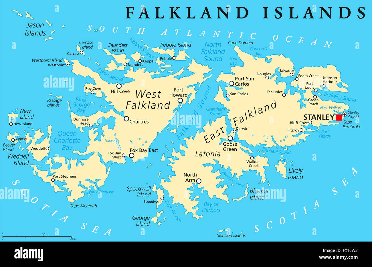 Falkland Islands Also Malvinas Political Map With Capital Stanley