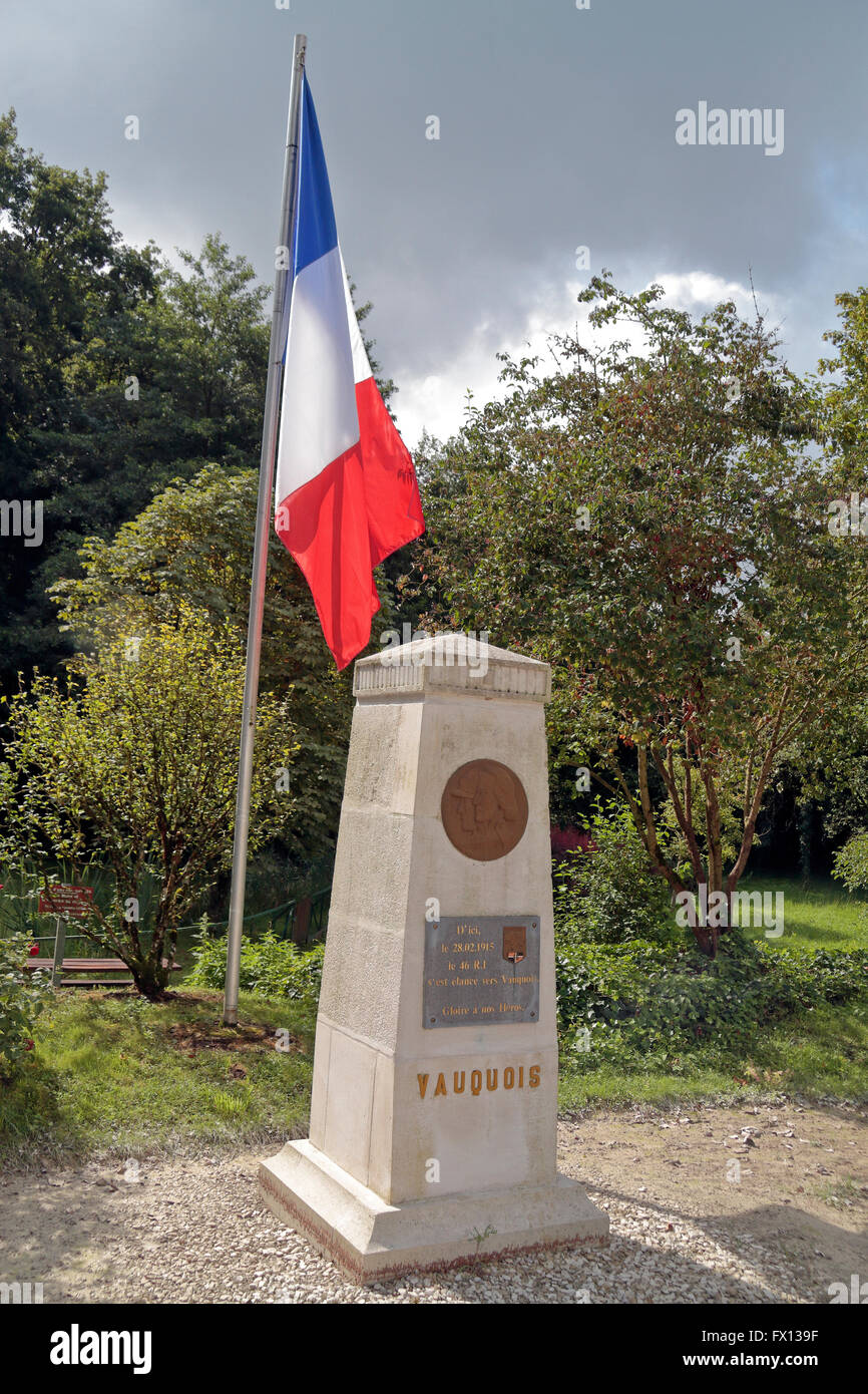 Monument du 46°RI à Vauquois (French 46th Infantry Regiment) close to the Butte de Vauquois, Meuse, France. - Stock Image