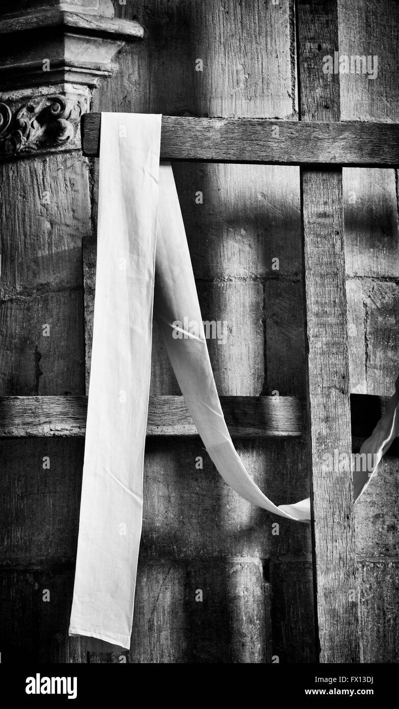 Easter Wooden Crosses in Tewkesbury Abbey, Gloucestershire, England. Black and White - Stock Image