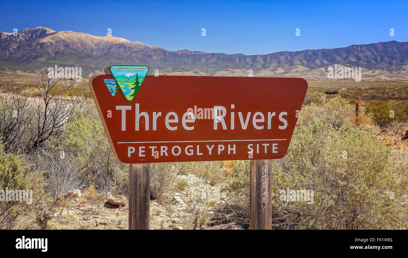 Three Rivers Petroglyph Site sign in south western New Mexico - Stock Image