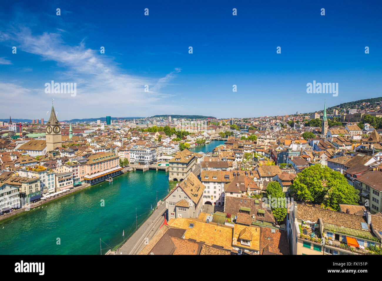 Aerial view of the historic city of Zürich with river Limmat in summer, Switzerland - Stock Image
