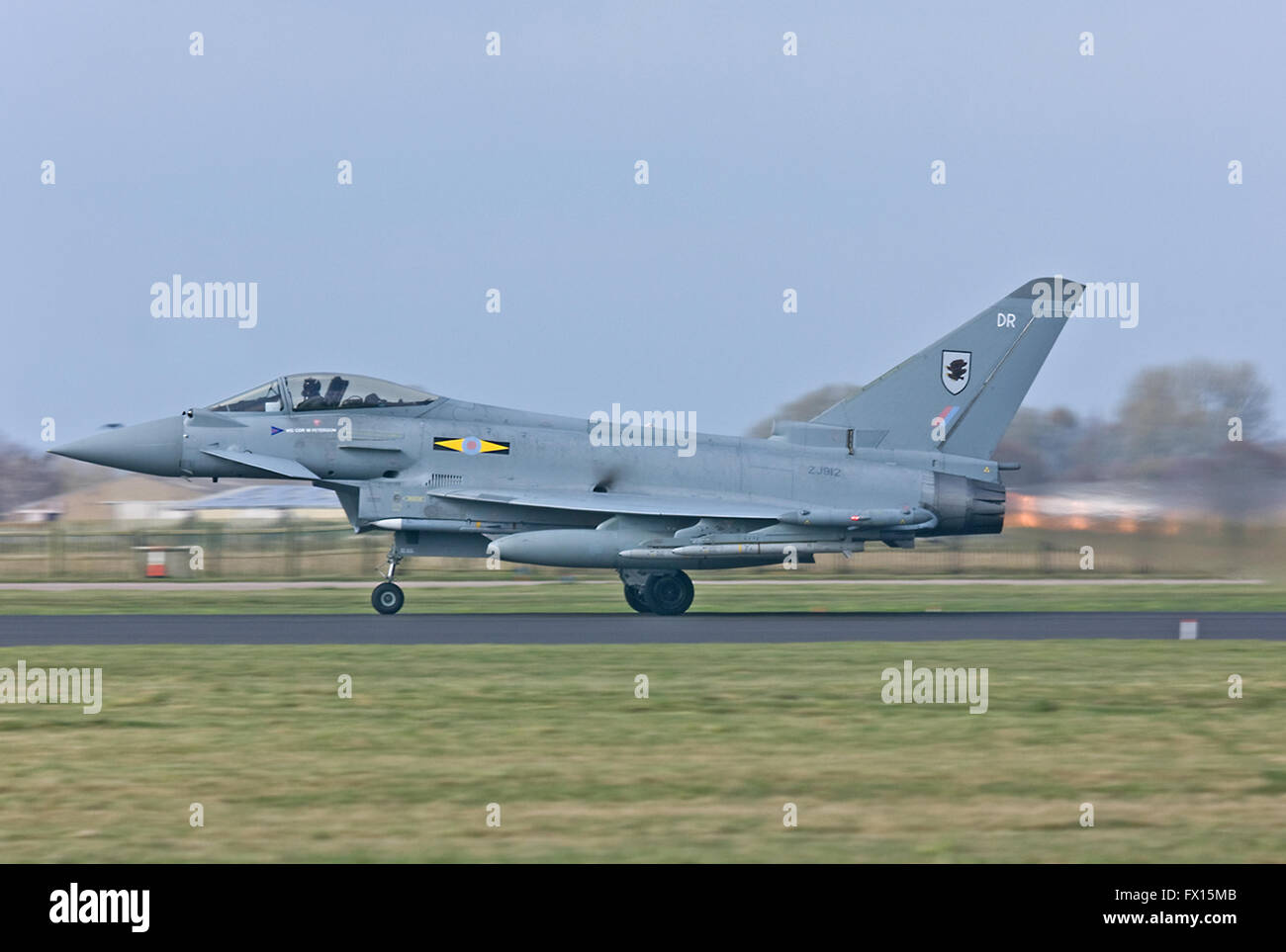 RAF Eurofighter Typhoon, No.XI(F) Squadron takes off on a QRA from Coningsby. - Stock Image