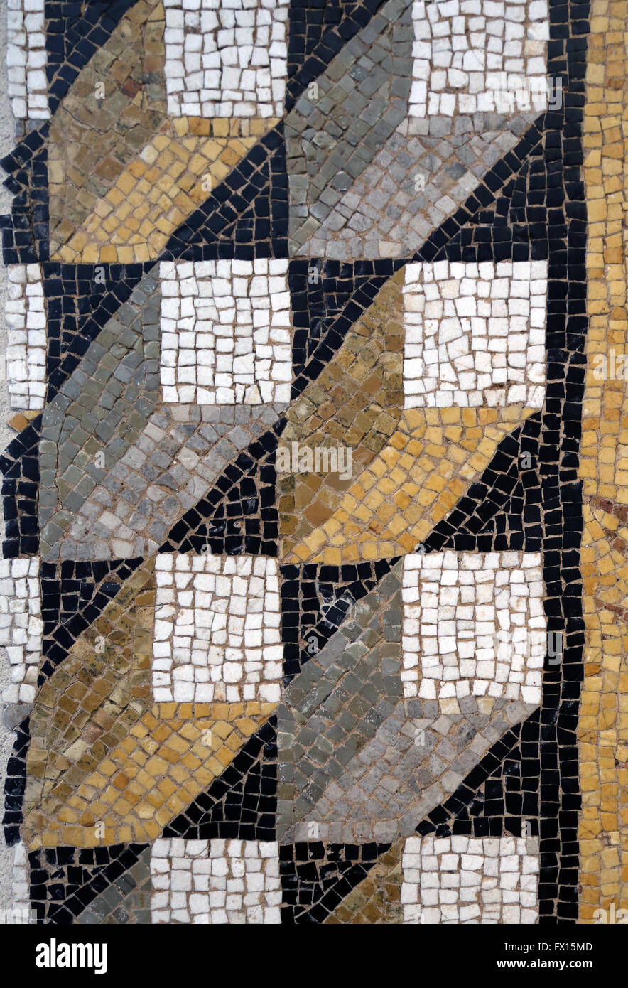 Roman art. Threshold in mosaic cubes perspective. Detail. 1st century. Louvre Museum. - Stock Image
