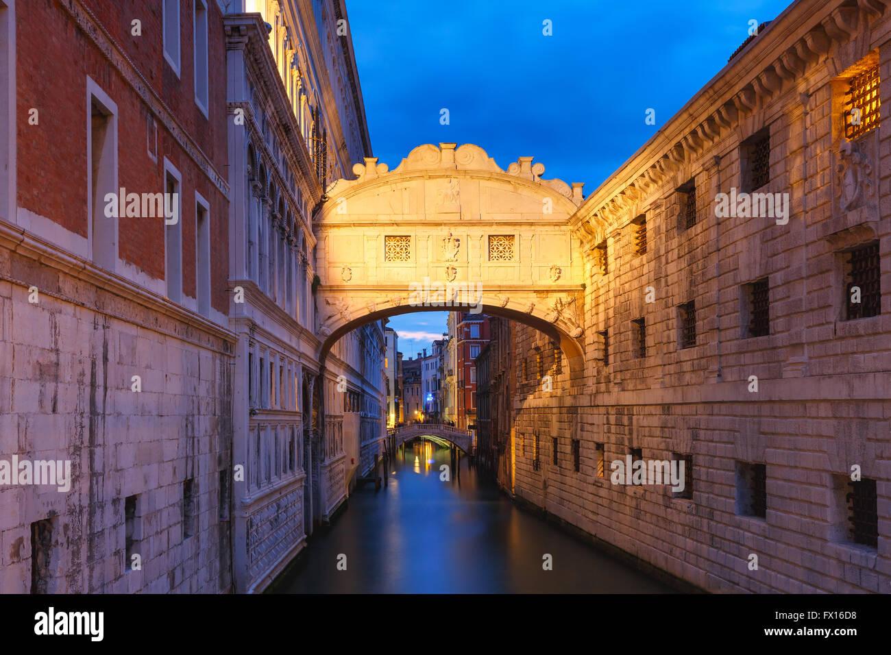 Bridge of Sighs or Ponte dei Sospiri in Venice Stock Photo