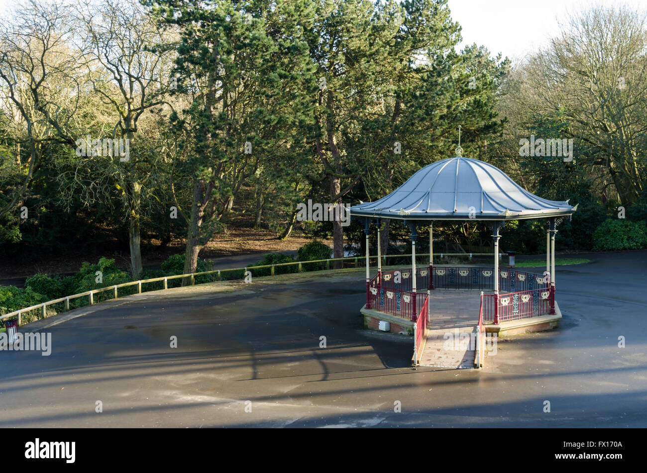 The Bandstand at Barnes Park, Sunderland, designed and built by  W. A. Baker and Son, Newport, Monmouthshire. Stock Photo