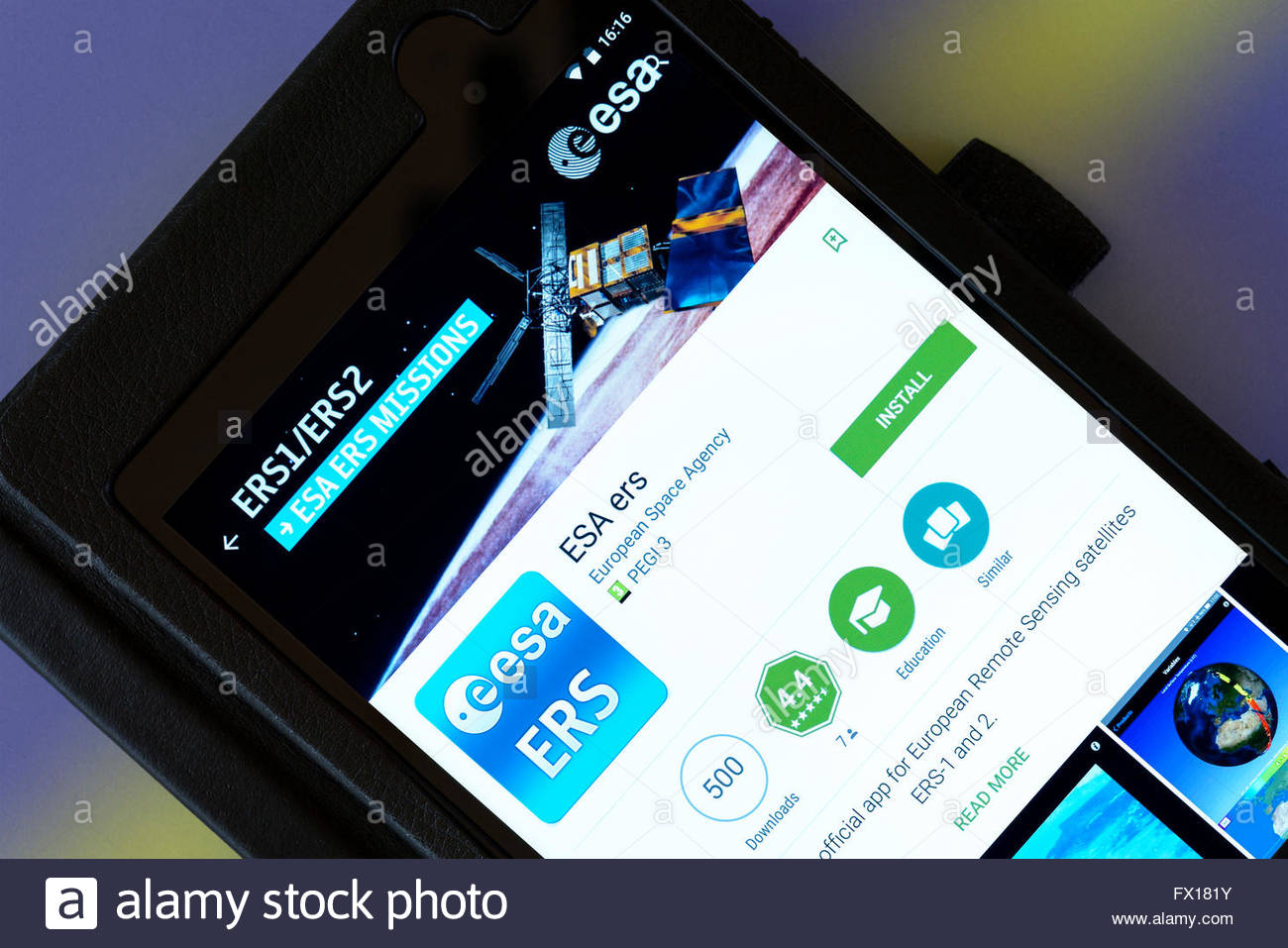 European Space Agency app on an android tablet PC, Dorset, England, UK - Stock Image