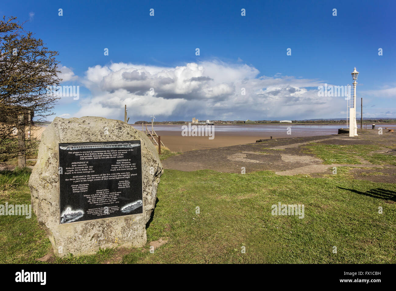 Commemorative Plaque to the fiftieth anniversary of the Severn and Wye Valley Bridge disaster Lydney Harbour, Gloucestershire - Stock Image
