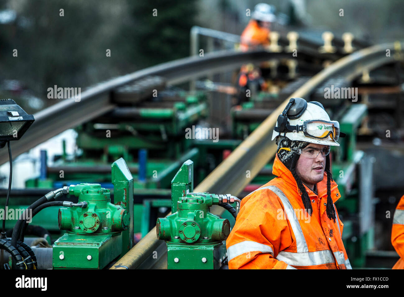 Rail track arrives in Galashiels for Borders Railway - Stock Image