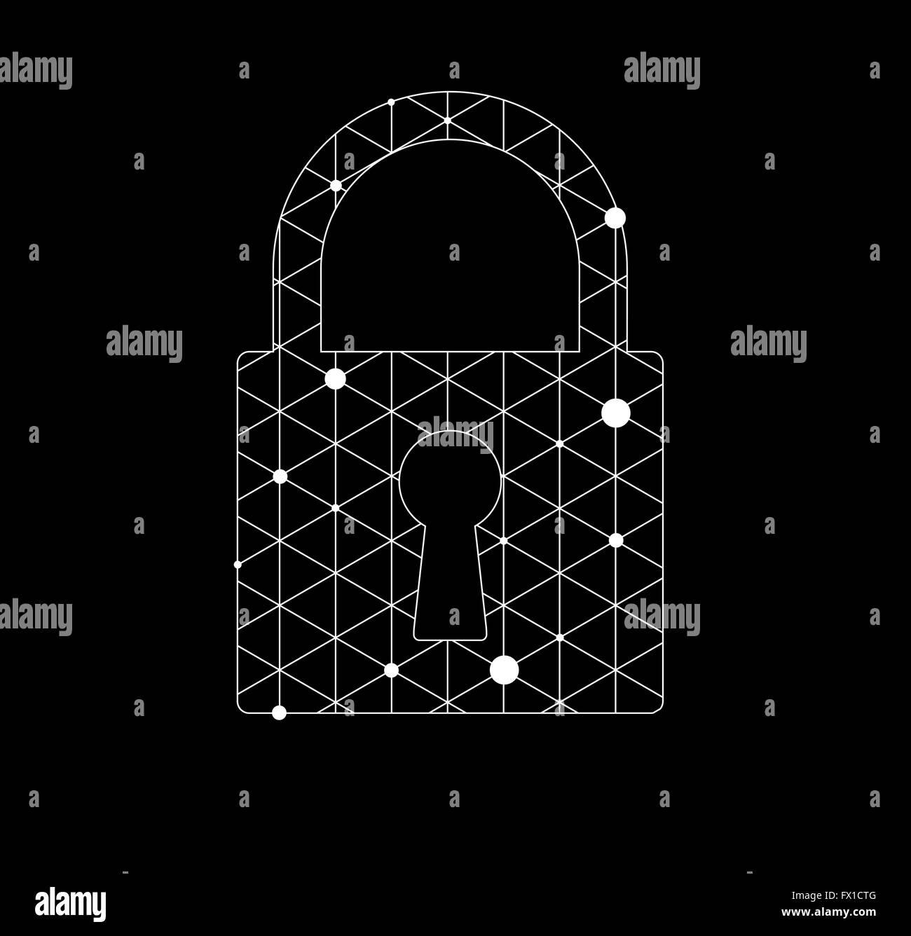 Abstract futuristic technology, lock digital on circuit board - Stock Image