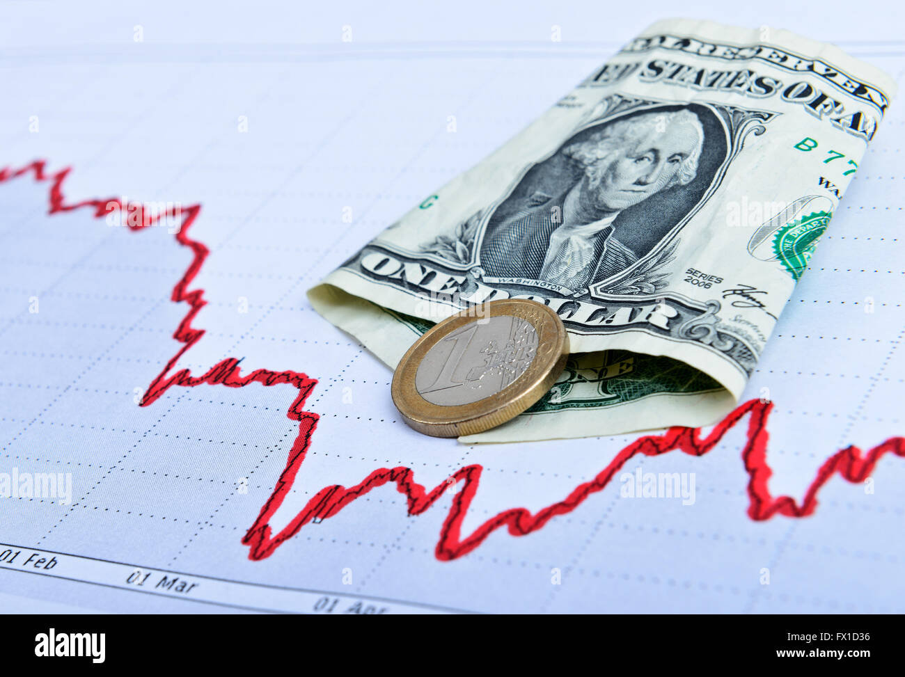 Dollars drawn chart. Business concept. Toned image - Stock Image
