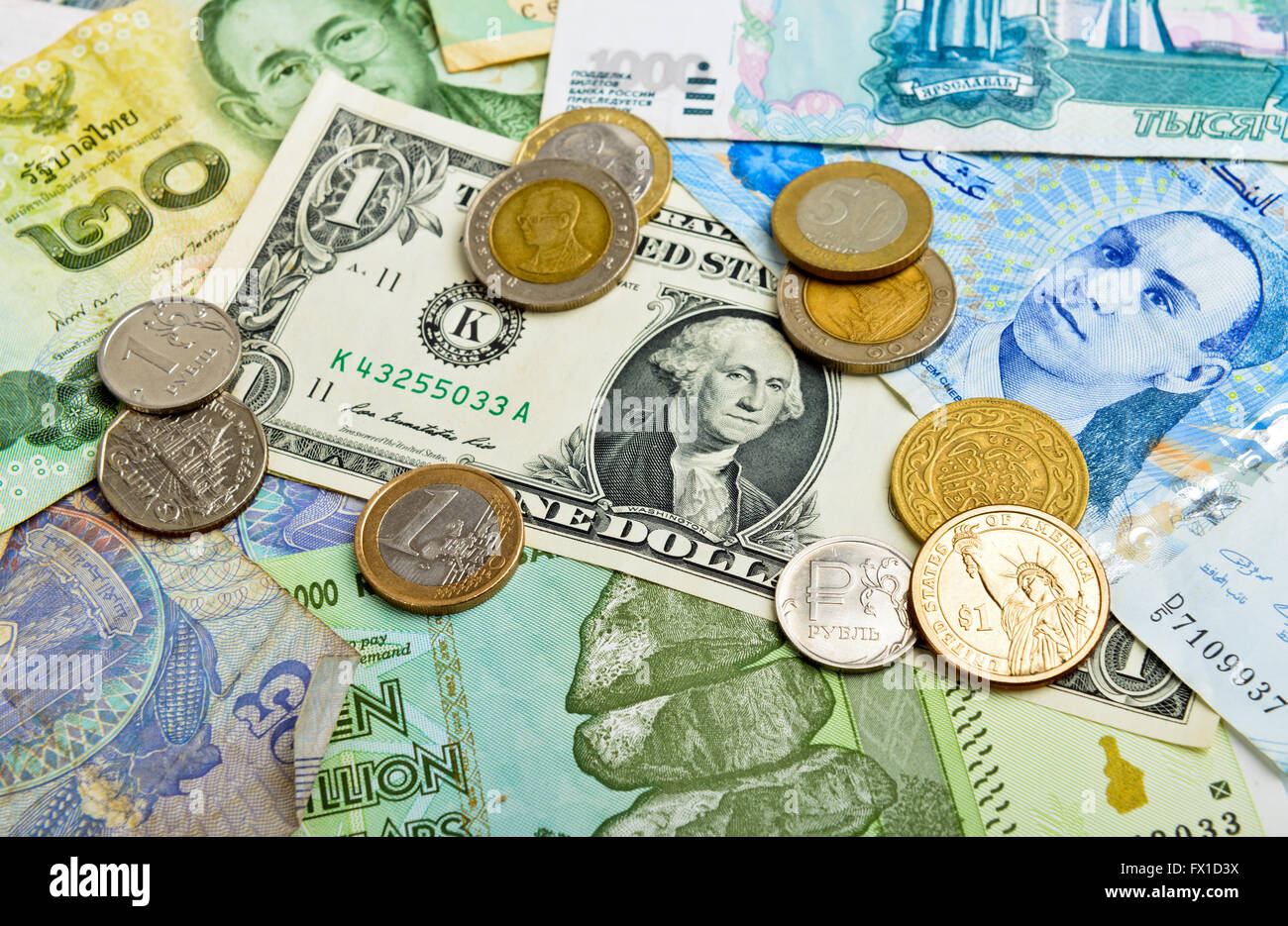 foreign  money collection - Stock Image