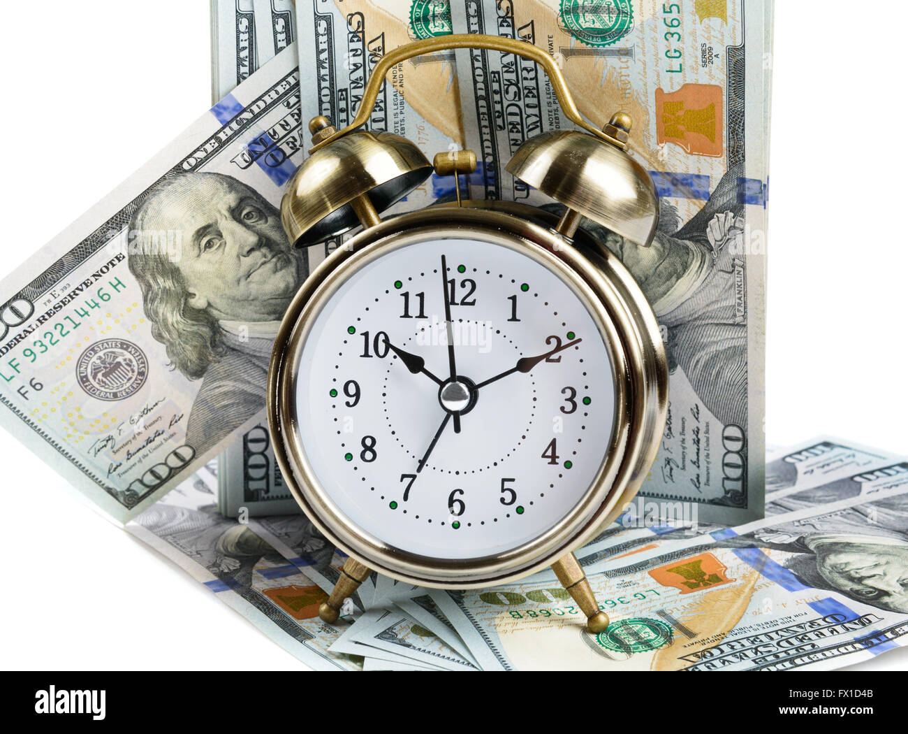 Alarm clock and dollar banknotes - Stock Image