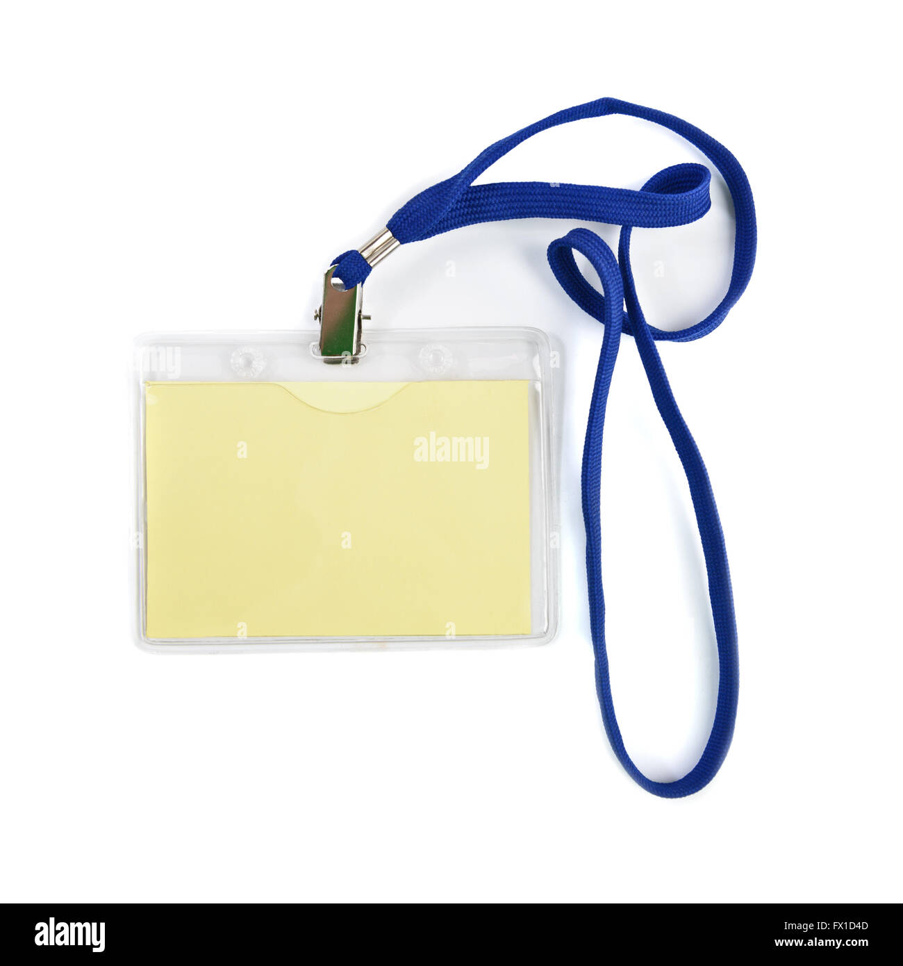 Blank ID or security card with blue neck strap - Stock Image