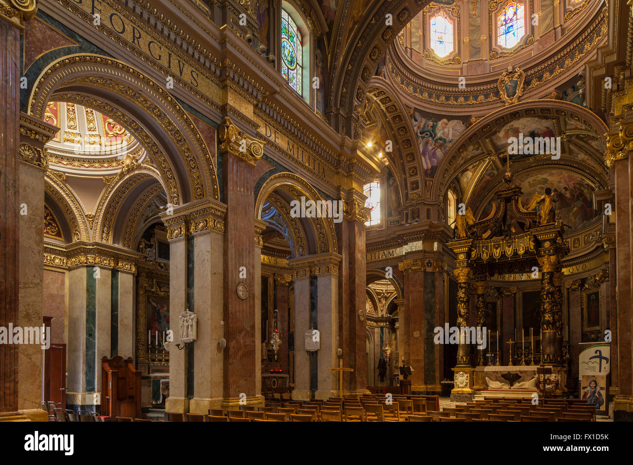 Interior of St George's Basilica in Victoria (Rabat) on Gozo, Malta. - Stock Image