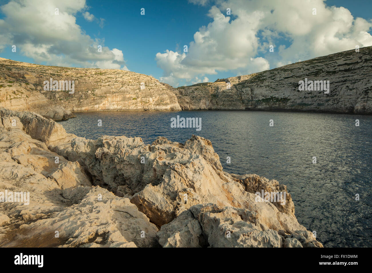 Dwejra Bay on the coast of Gozo near San Lawrenz, Malta. Stock Photo