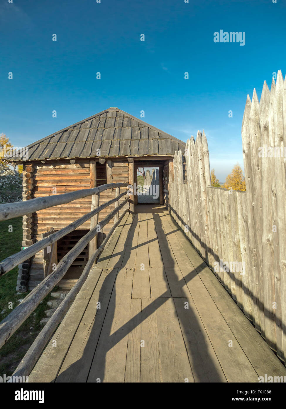 Reconstructed Slavic Burgwall at Birów near Ogrodzieniec - Stock Image