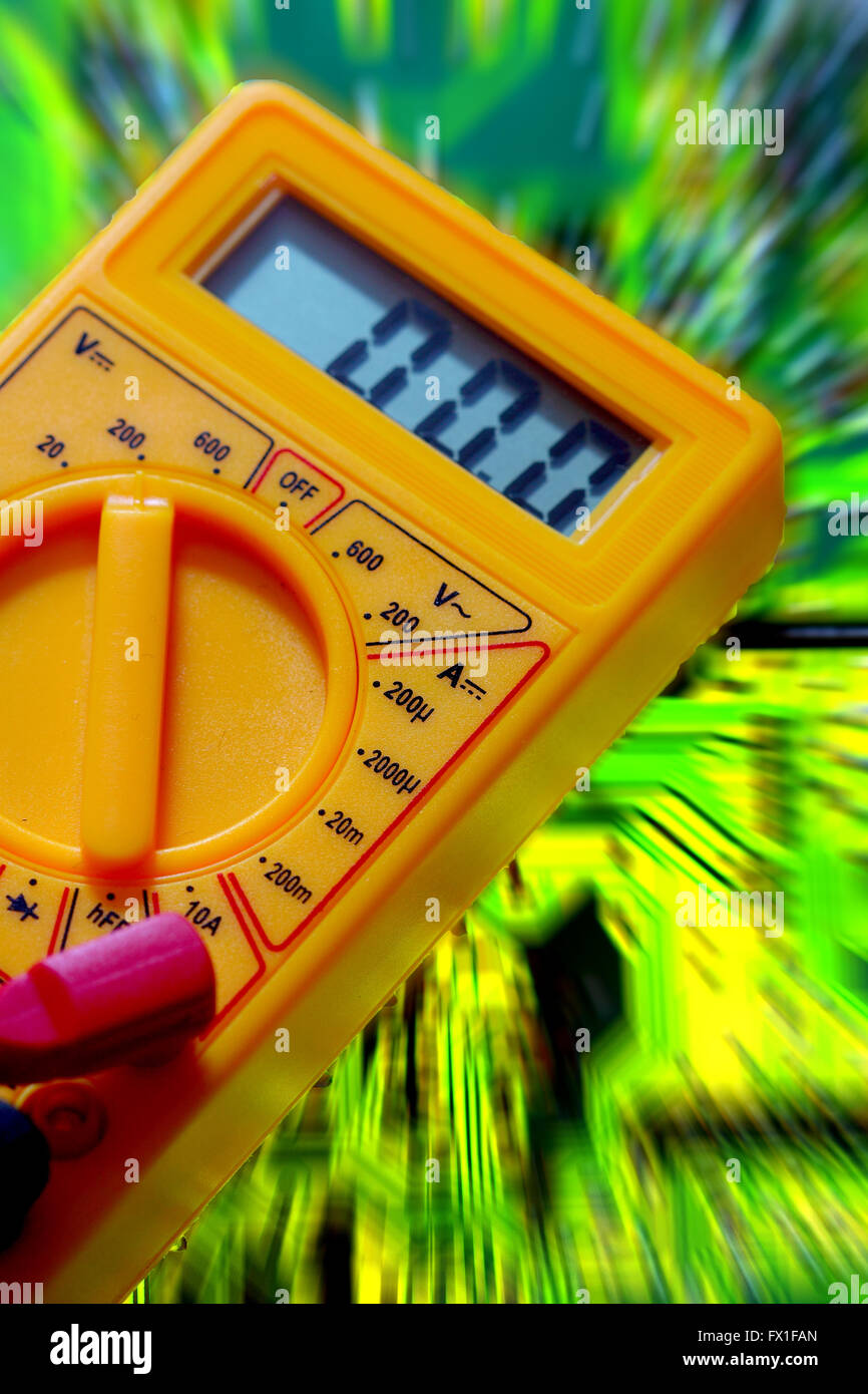 Digital multimeter circuit board abstract - Stock Image