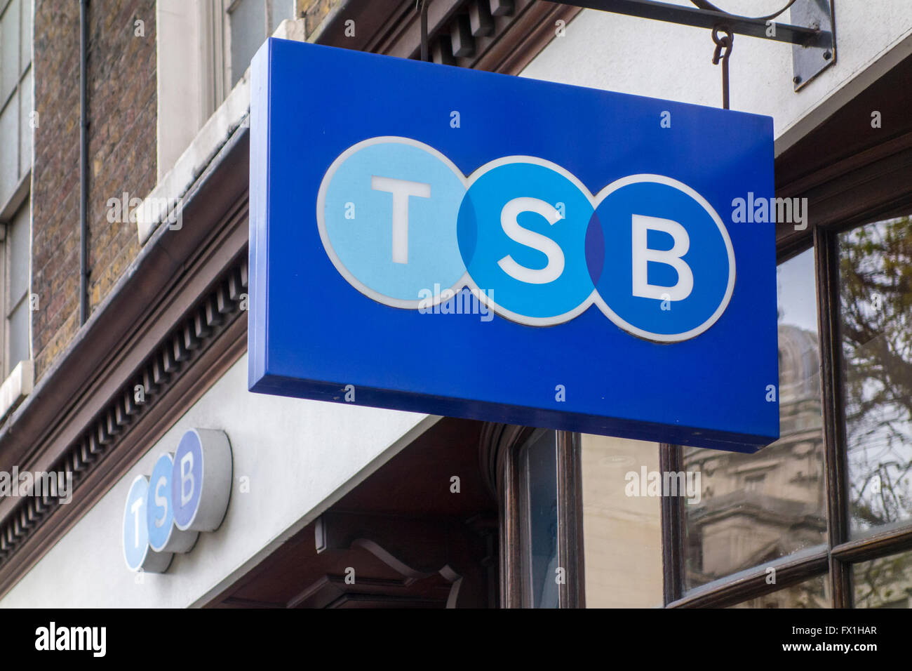 Sign outside a TSB bank branch, City of London, UK - Stock Image