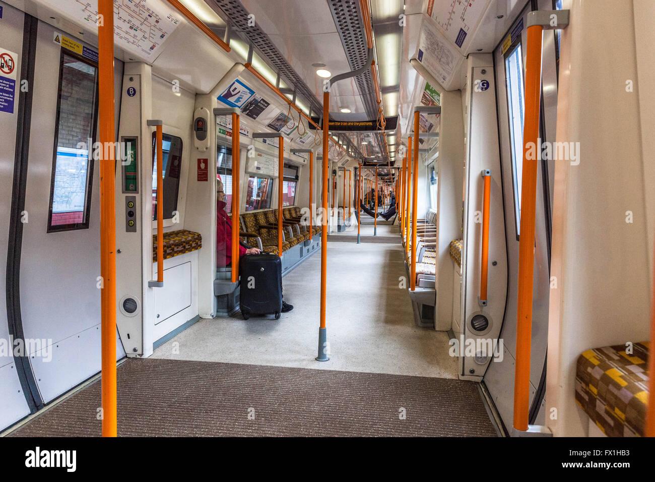 Overground carriage rain interior, London, England, UK - Stock Image