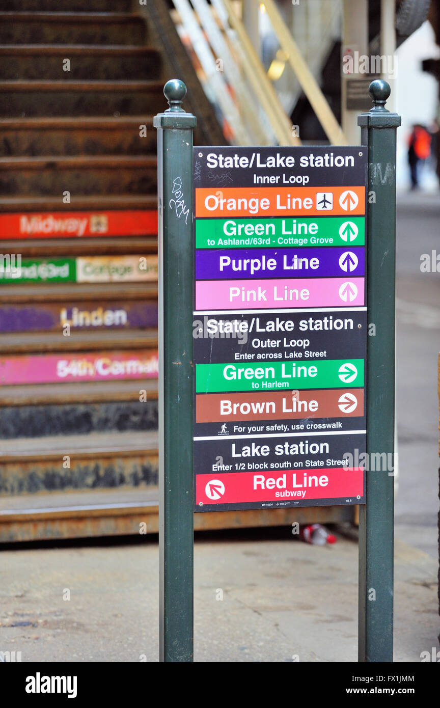 Line destination signs aid travelers and tourists at Chicago's CTA State/Lake Station located in the Loop. Chicago, - Stock Image