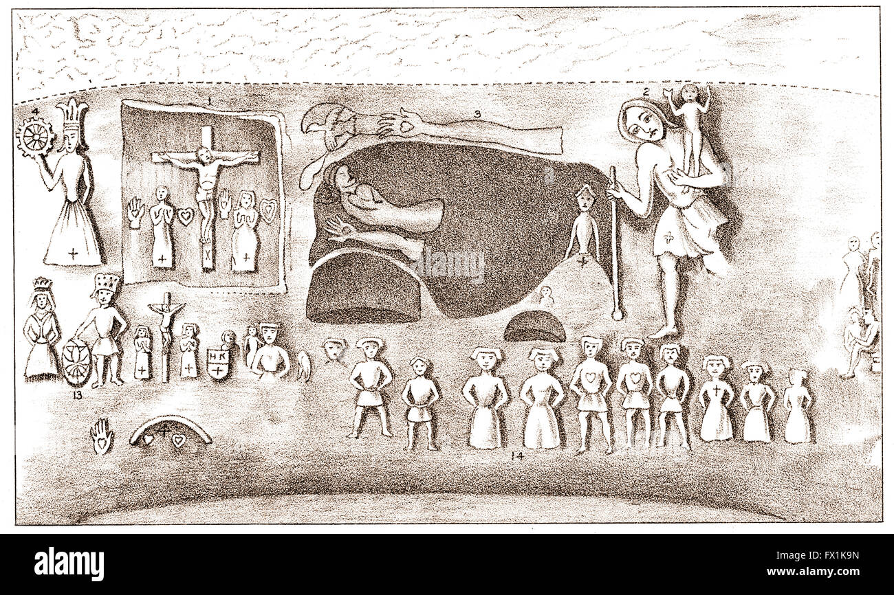 Drawing of wall in Royston Cave by Joseph Beldam, 1858, Hertfordshire, England, UK - Stock Image