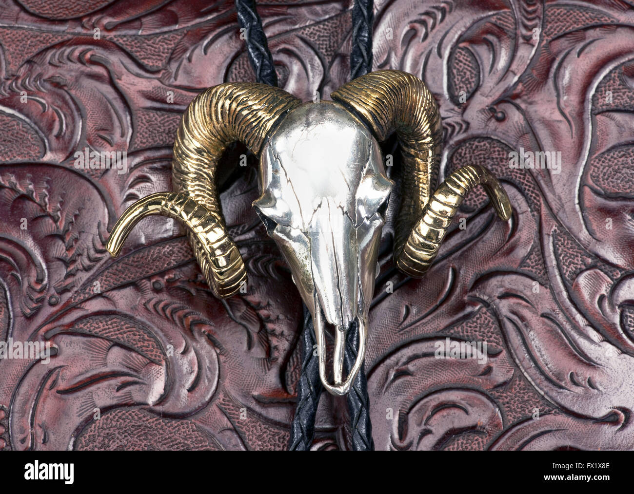 Sterling silver Indian ram head bolo tie. - Stock Image