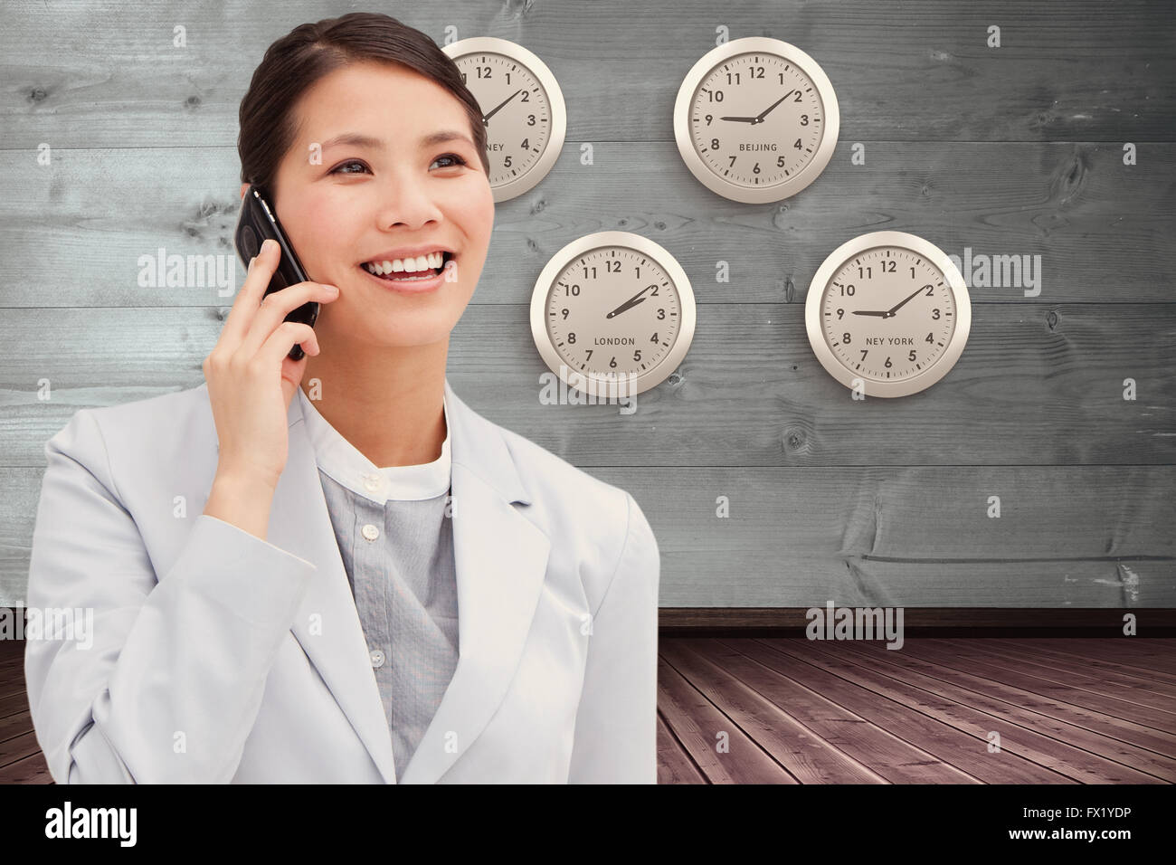 Composite image of close up of an businesswoman on phone Stock Photo