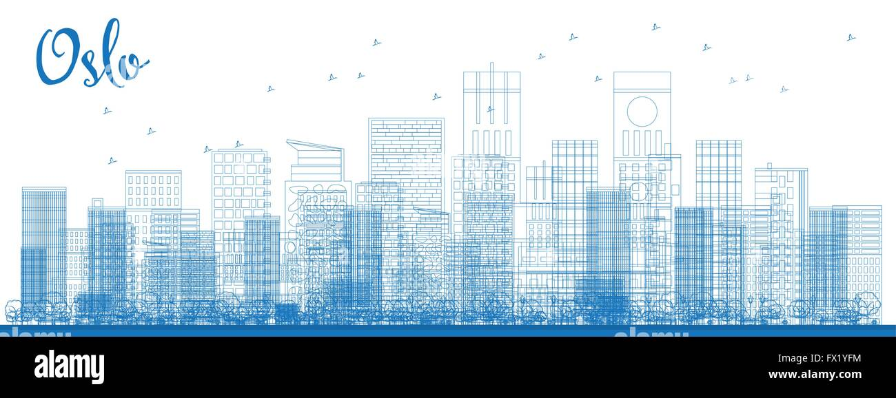Outline Oslo Skyline with Blue Buildings. Vector Illustration. Business travel and tourism concept with modern buildings. - Stock Vector