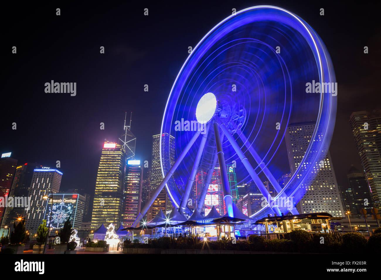 Illuminated Hong Kong Observation Wheel at night in the Central Hong Kong, China. - Stock Image