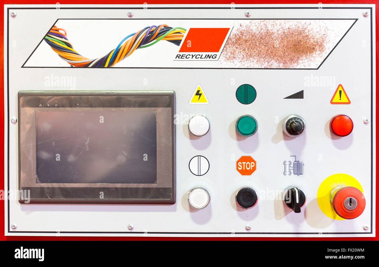 Control panel of a red recycling machine. Recycles plastic and glass bottles. Control panel with computer monitor - Stock Image