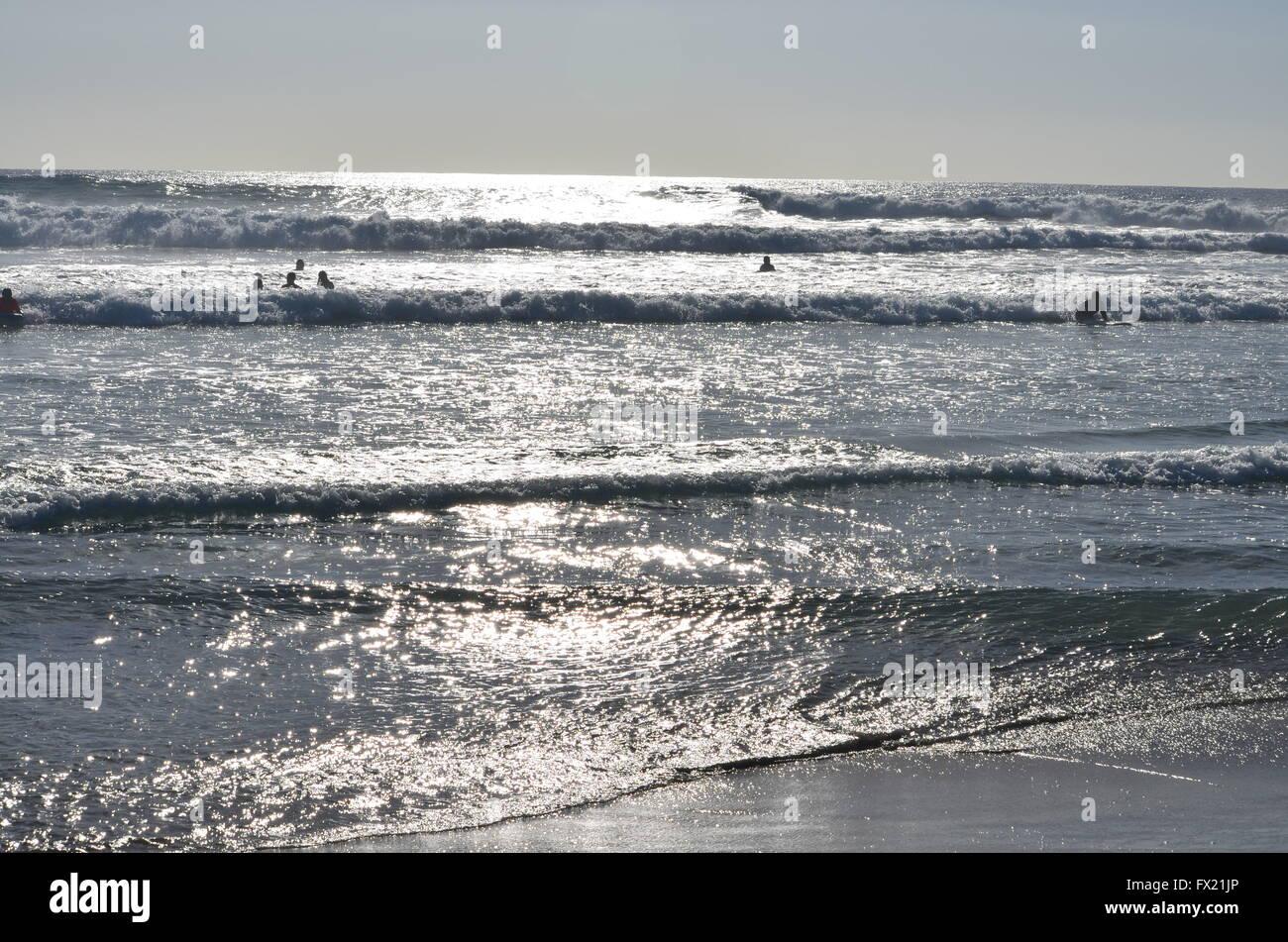 Shimmering Waves at Cerritos Beach Near Cabo San Lucas Mexico - Stock Image