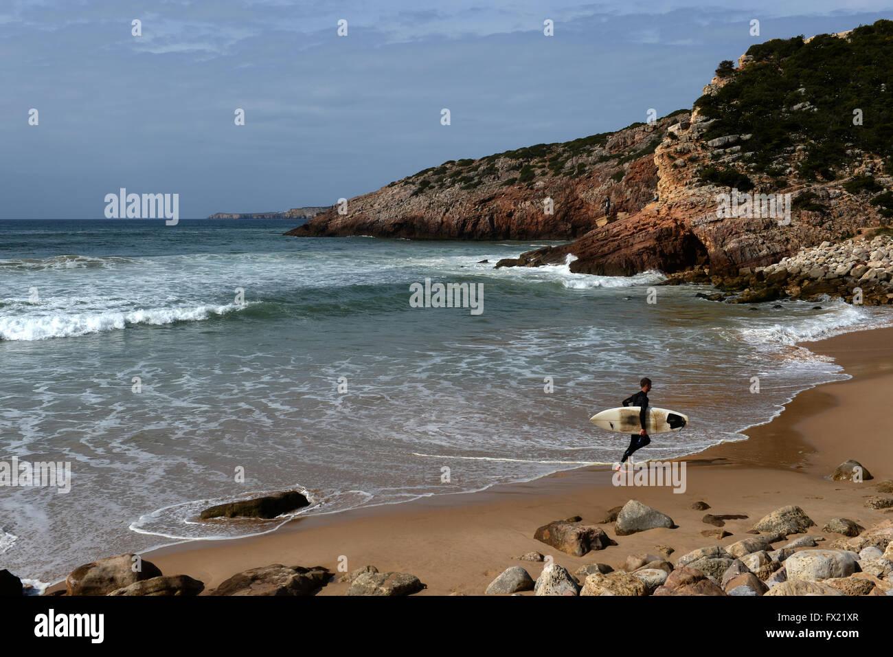 beaches and coastline of the Algarve , Portugal - Stock Image