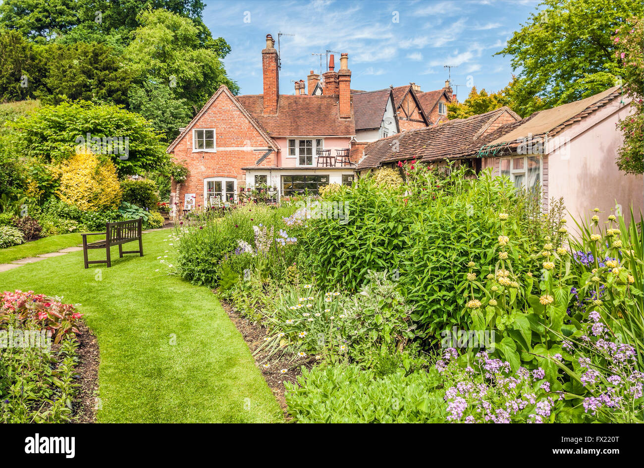 Mill Garden just below the Caesars Tower of Warwick Castle in Warwick a medieval county town of Warwickshire, England.| - Stock Image