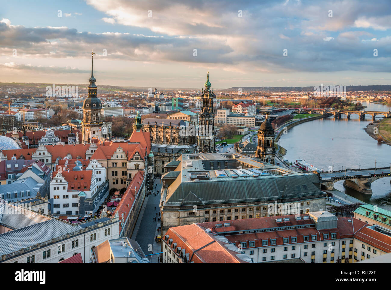 View over the old town and Dresden skyline at dawn, Saxony, Germany Stock Photo