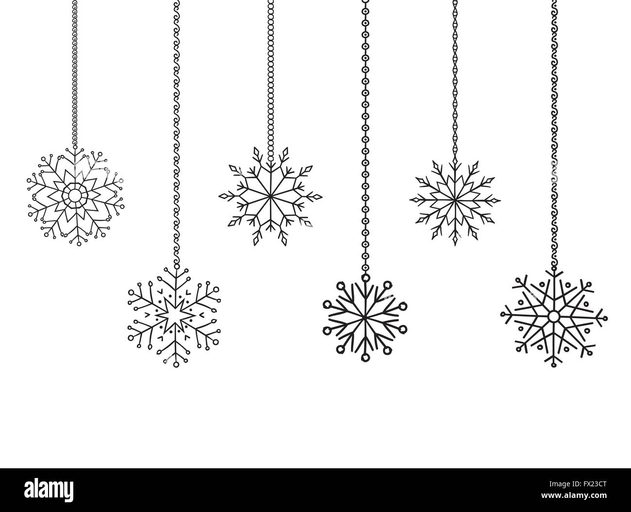 snowflakes garland border christmas and new year decoration for your design stock image