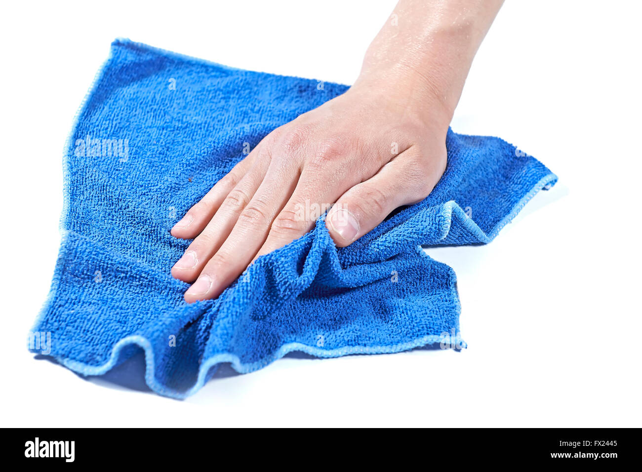 Cleaning surface with a blue microfiber cloth - Stock Image