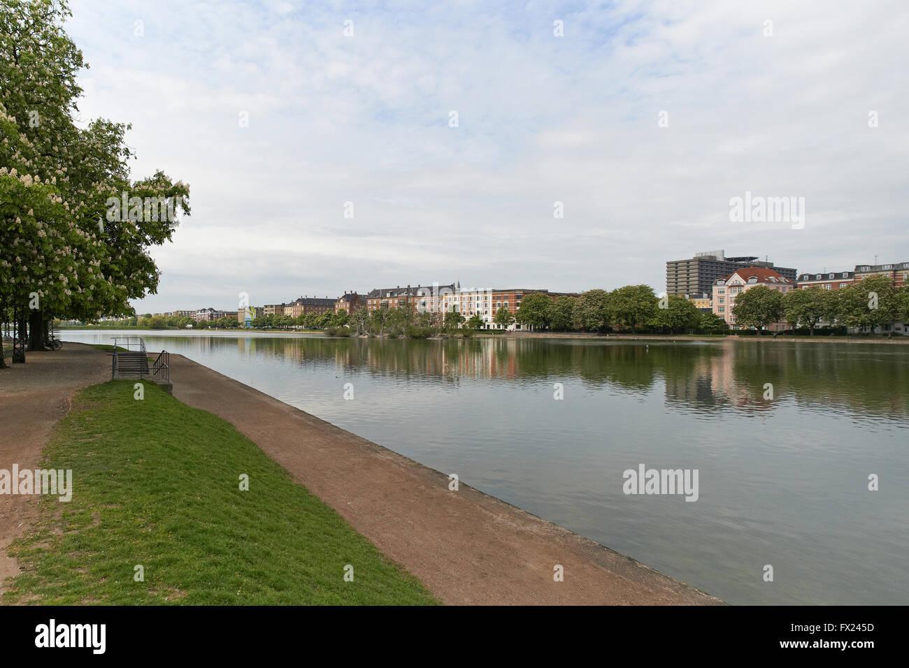 Sortedams lake located in Copenhagen, Denmark - Stock Image