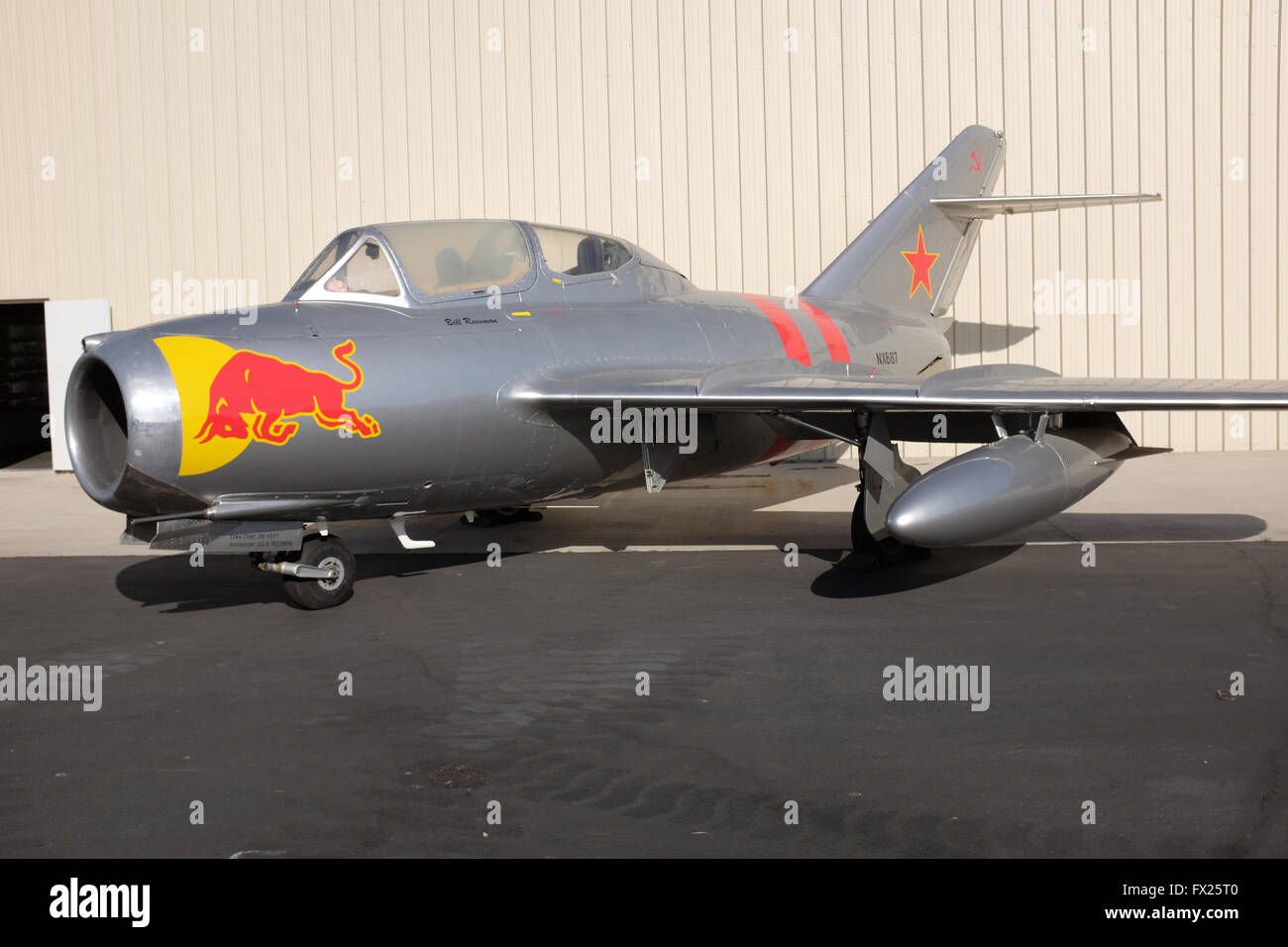 Red Bull Jet Plane at Planes of Fame Museum in Chino, California - Stock Image