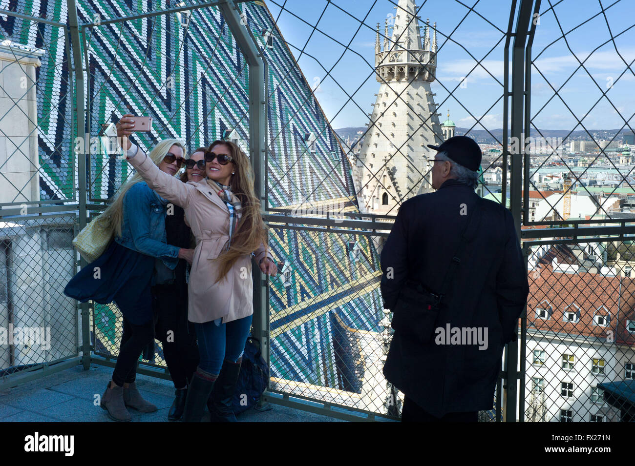 Selfie from the top of the tower St Stephen's Cathedral Vienna - Stock Image