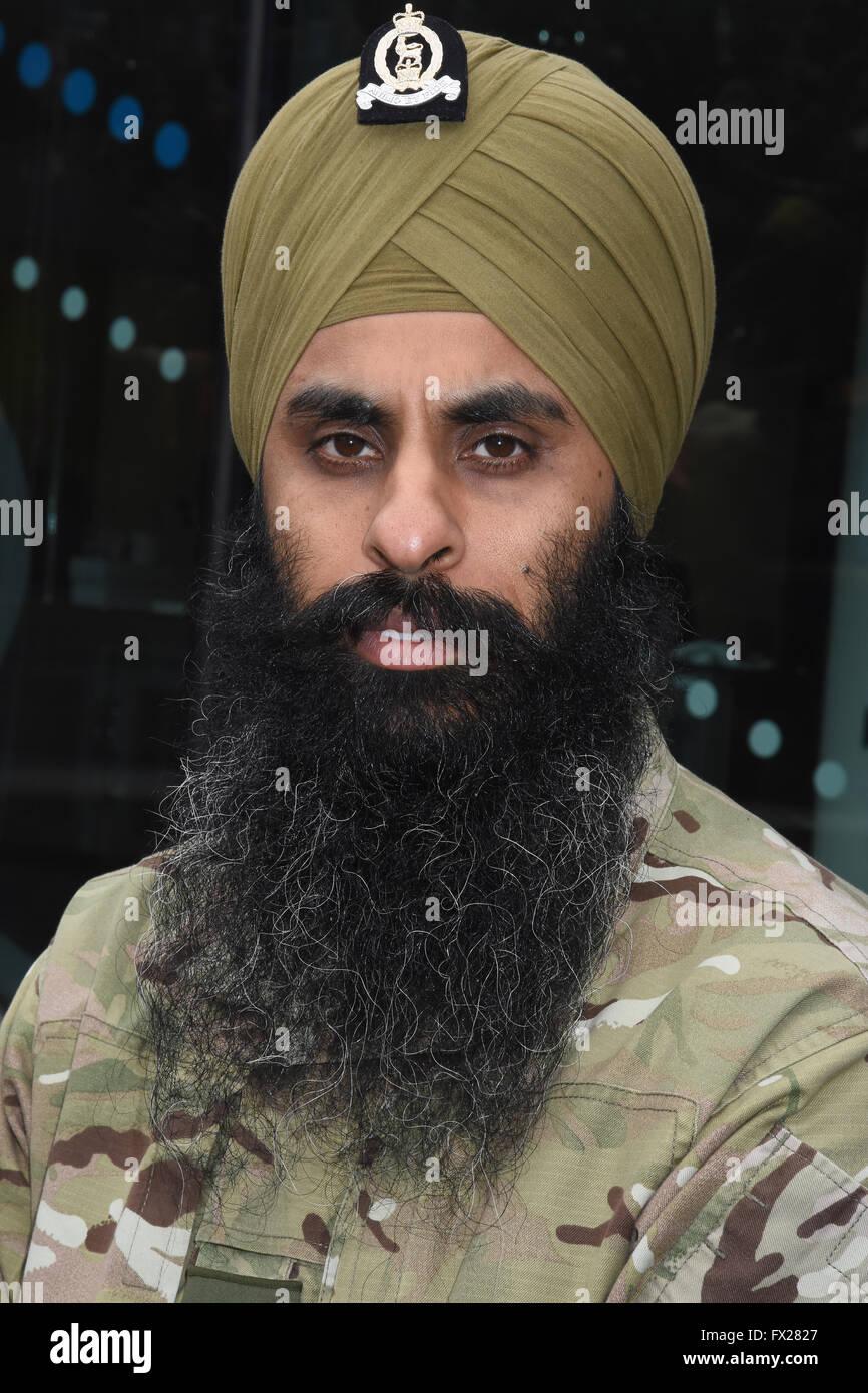 Portrait of a Sikh Serviceman,Vaisakhi Festival,City Hall,London UK - Stock Image