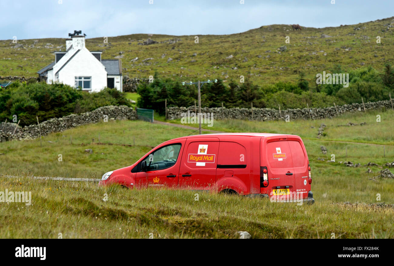 Royal Mail service car on the way to a remote house, Sutherland, Scotland, Great Britain - Stock Image