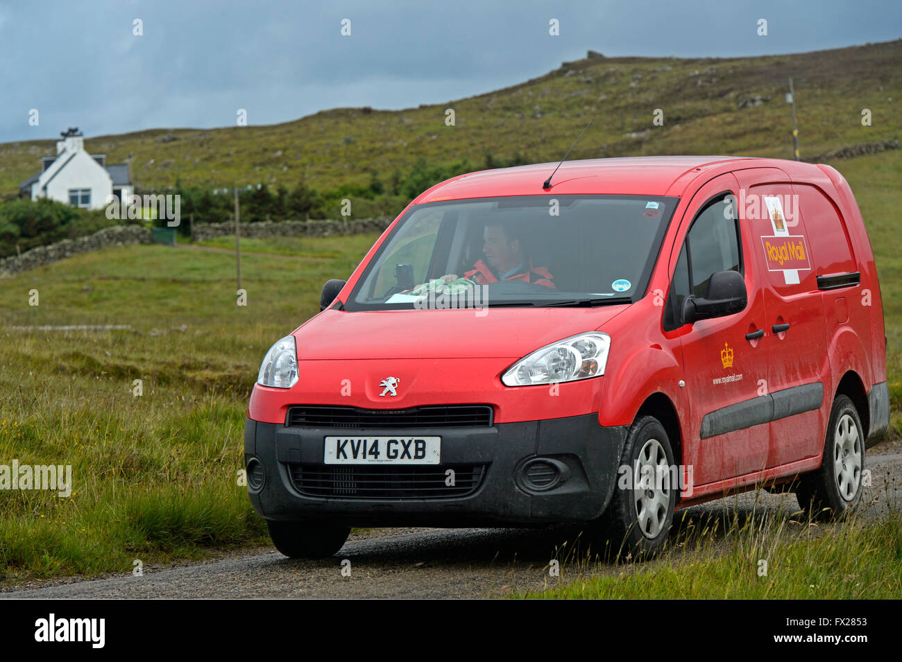 Royal Mail service car on duty in the Scottish Highlands, Sutherland, Scotland, Great Britain - Stock Image