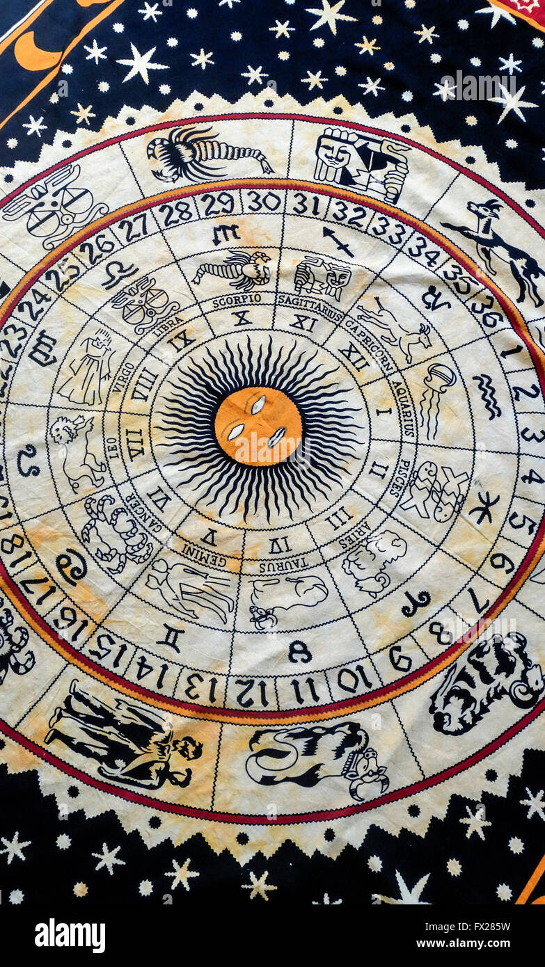 Ethnic Indian Astrology Tapestry - Stock Image