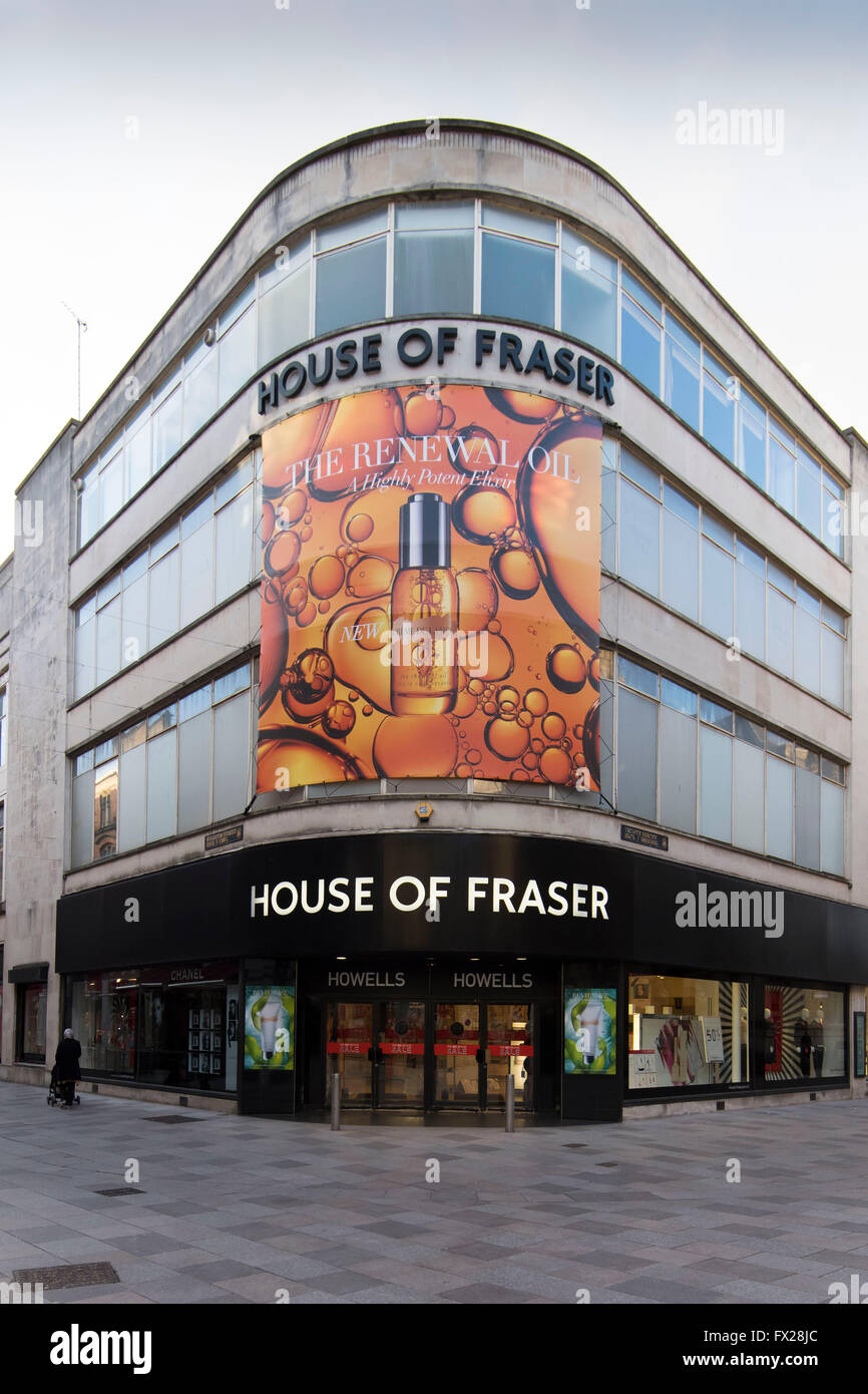 House of Fraser Howells store sign logo in Cardiff, south Wales. - Stock Image