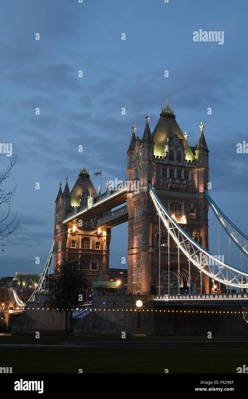 Tower Bridge on The River Thames in London - Stock Image
