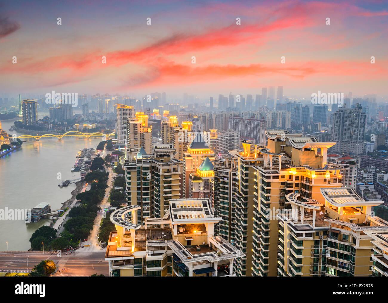 Fuzhou, China cityscape on the Min River. - Stock Image