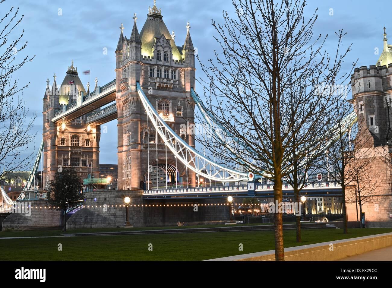 Side shot of Tower Bridge - Stock Image