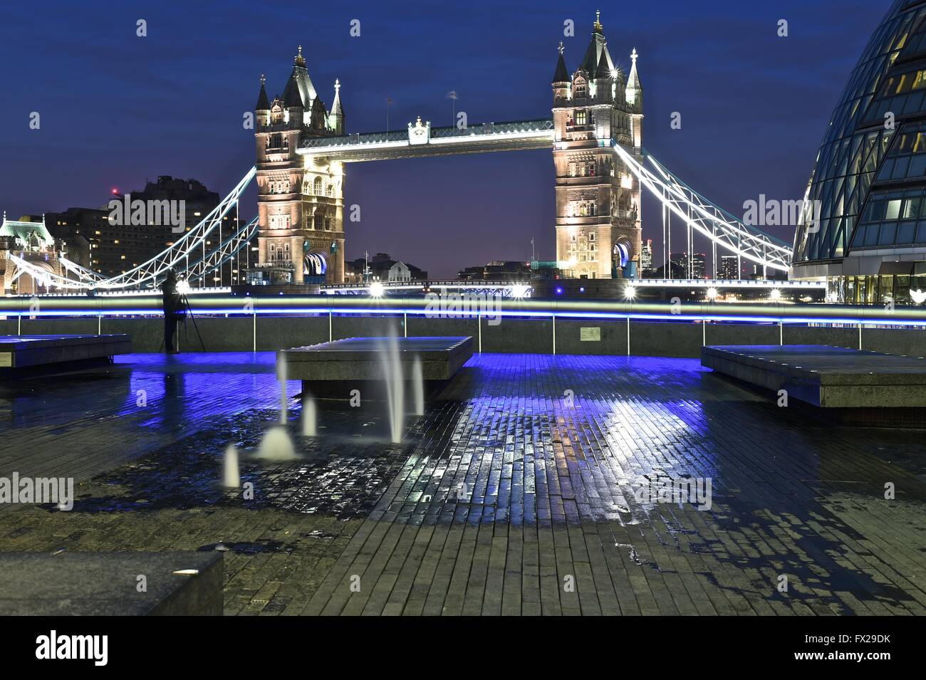 London City, Tower Bridge, River Thames, Night sky - Stock Image