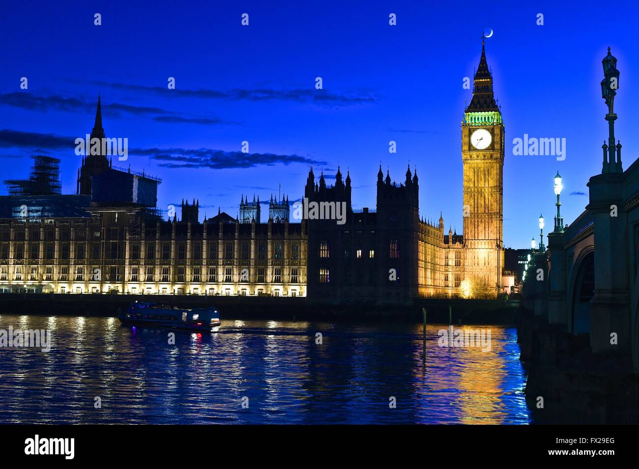 Night shot of The Big Ben and Westminster Bridge - Stock Image