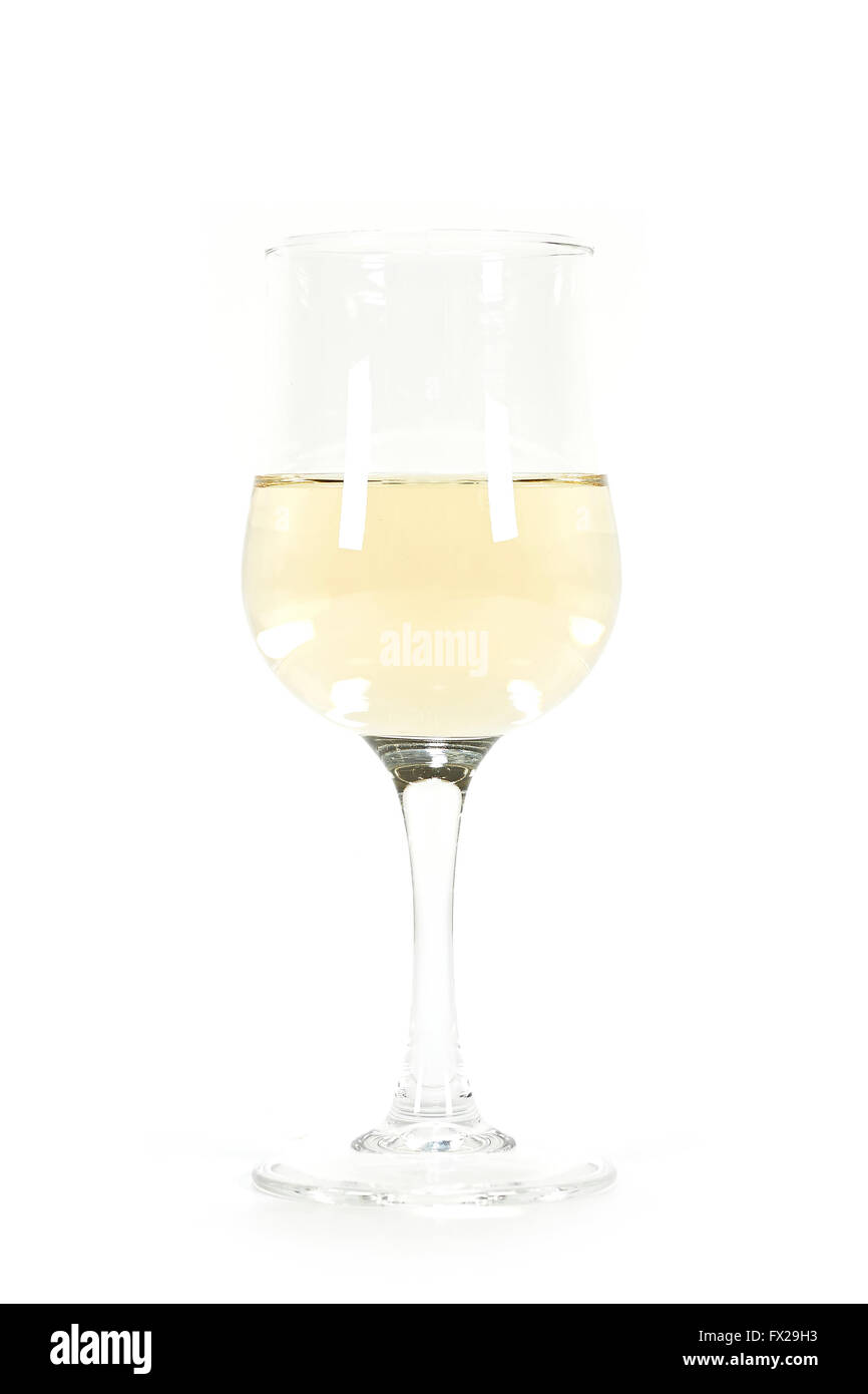 A glass of white wine isolated on a white background - Stock Image